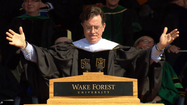 Colbert delivers thoughtful address