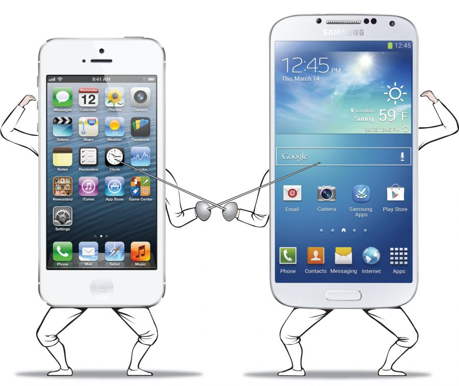 ILLUSTRATION: Dueling Apple iPhone and Samsung Galaxy S4 smartphones