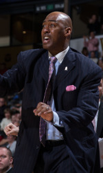 Wake Forest Demon Deacons head coach Danny Manning gives instructions to his team during second half action against the UNCG Spartans at the LJVM Coliseum on December 15, 2015 in Winston-Salem, North Carolina.  The Demon Deacons defeated the Spartans 81-71.  (Brian Westerholt/Sports On Film)