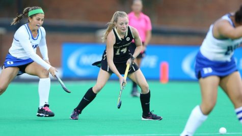 The Wake Forest Demon Deacons played host to the Duke Blue Devils in ACC field hockey action at Kentner Stadium on October 14, 2016 in Winston-Salem, North Carolina.  The Blue Devils defeated the Demon Deacons 2-1.  (Brian Westerholt/Sports On Film)