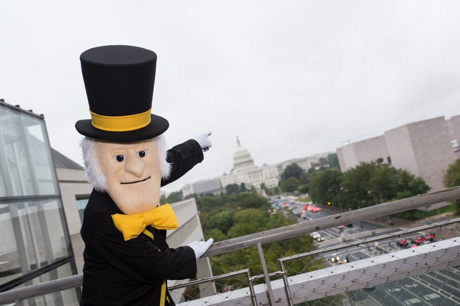Wake Forest University hosts the Wake Washington Center Launch Event at the Newseum, on Thursday, October 12, 2017, in Washington, DC.  (Photos by Leslie E. Kossoff/LK Photos)  The Demon Deacon poses in front of the US Capitol.