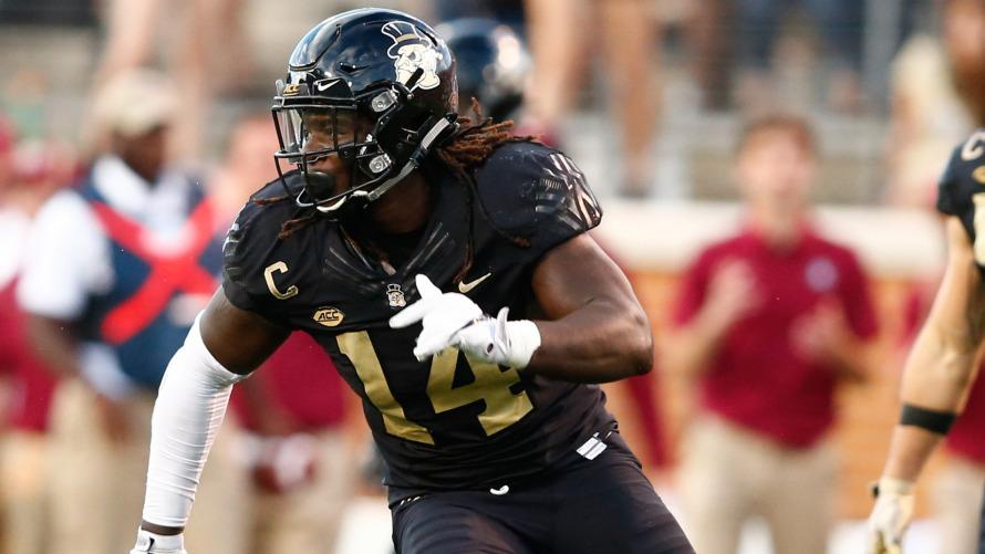 Sep 30, 2017; Winston-Salem, NC, USA; Wake Forest Demon Deacons defensive lineman Wendell Dunn (14) reacts after a sack in the fourth quarter against the Florida State Seminoles at BB&T Field. Mandatory Credit: Jeremy Brevard-USA TODAY Sports
