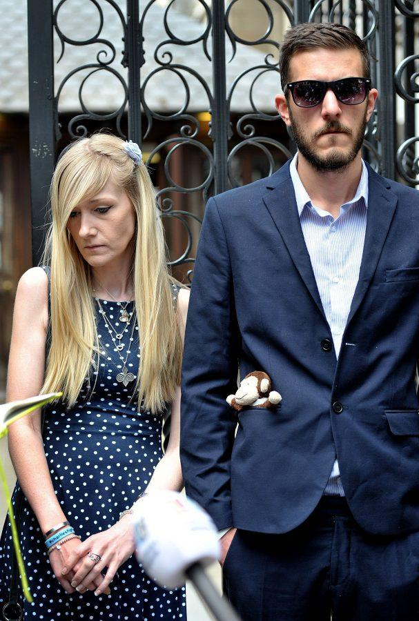 Charlie Gard's parents Connie Yates and Chris Gard outside the High Court in London following the adjournment of a hearing in their latest bid to see him treated with an experimental therapy on Monday, July 10, 2017 in London, England.  (Nick Ansell /PA Photos/Abaca Press/TNS)