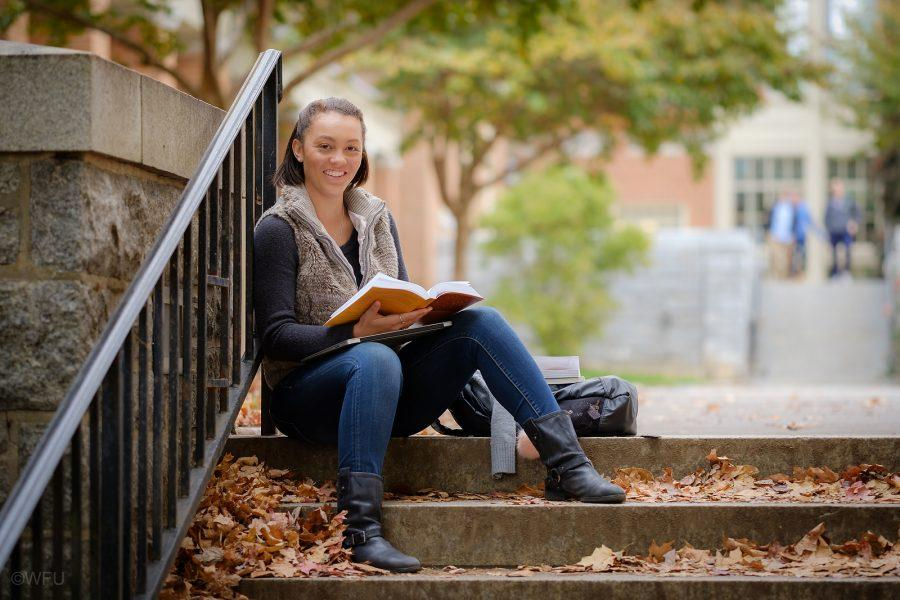 Wake Forest junior Asia Parker studies outdoors on campus on Monday, November 14, 2016.