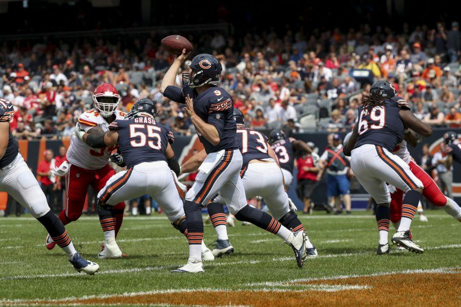 Chicago Bears quarterback Tyler Bray (9) throws a pass during the second half against the Kansas City Chiefs in the third preseason game of the season on Saturday, Aug. 25, 2018 at Soldier Field in Chicago, Ill. (Armando L. Sanchez/Chicago Tribune/TNS)