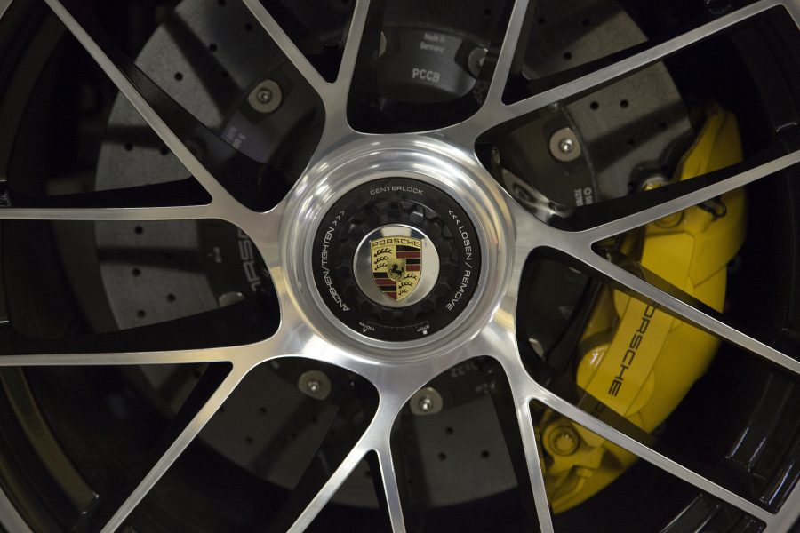 The 2017 Porsche 911 Turbo S gets centerlock wheel nuts. The Turbo S cranks out 580 horsepower from its turbo 3.8-liter, flat-six engine on September 16, 2016 in La Canada, Calif. (Myung J. Chun / Los Angeles Times)