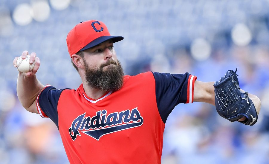 Cleveland Indians starting pitcher Corey Kluber pitches in the first inningagainst the Kansas City Royals on Saturday, Aug. 25, 2018 at Kauffman Stadium in Kansas City, Mo. (John Sleezer/Kansas City Star/TNS)