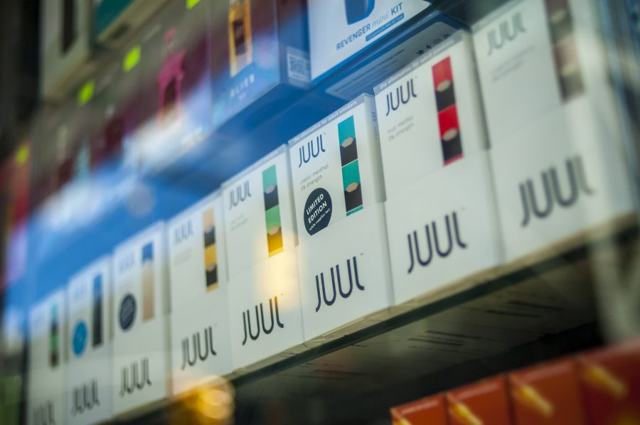 A+selection+of+the+popular+Juul+brand+vaping+supplies+on+display+in+the+window+of+a+vaping+store+in+New+York+on+Saturday%2C+March+24%2C+2018.+%28Richard+B.+Levine%2FSipa+USA%2FTNS%29