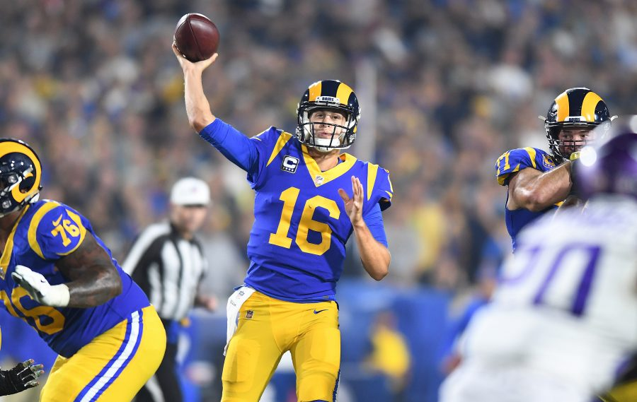 Los Angeles Rams quarterback Jared Goff (16) puts the ball in the air against the Minnesota Vikings in the third quarter at the Los Angeles Memorial Coliseum on Thursday, Sept. 27, 2018. The Rams won, 38-31, with Goff throwing for 465 yards and five touchdowns. (Wally Skalij/Los Angeles Times/TNS)