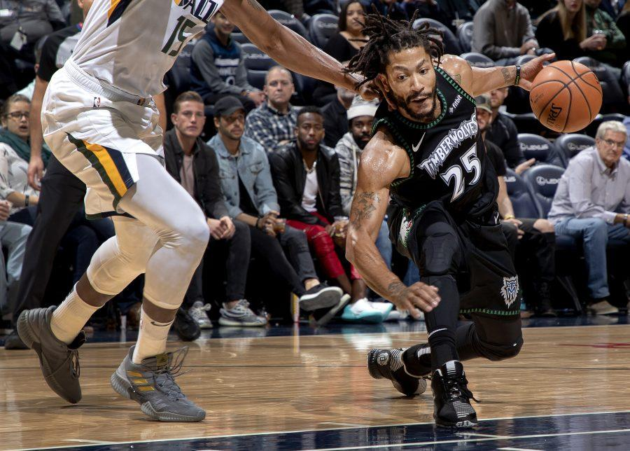 The Minnesota Timberwolves' Derrick Rose drives the lane in the third quarter against the Utah Jazz at the Target Center in Minneapolis on Wednesday, Oct. 31, 2018. The Timberwolves won, 128-125, behind a career-high 50 points from Rose. (Carlos Gonzalez/Minneapolis Star Tribune/TNS)
