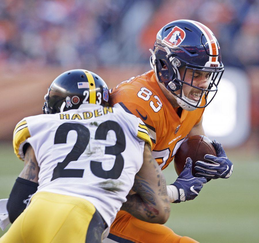 Broncos TE Matt LaCosse, right, catches a pass with Steelers CB Joe Haden, left, during the 2nd half at Broncos Stadium at Mile High Sunday afternoon. (Hector Acevedo/ZUMA Wire/TNS)