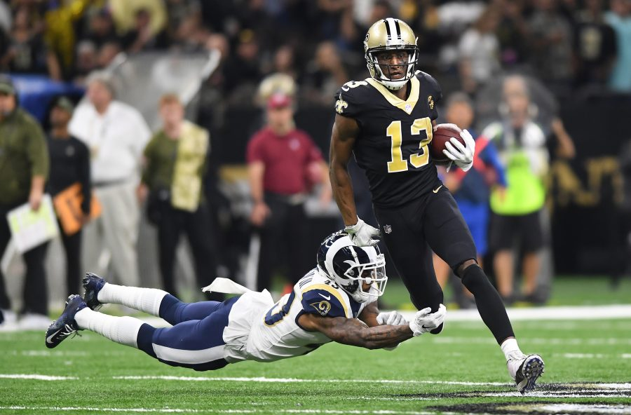 Los Angeles Rams safety John Johnson can't make the tackle on New Orleans Saints receiver Michael Thomas in the second quarter on Sunday, Nov. 4, 2018 at the Mercedes Benz Superdome in New Orleans, La. (Wally Skalij/Los Angeles Times/TNS)