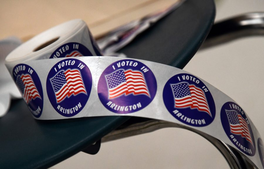 %22I+voted+%22+stickers+are+seen+inside+a+school+as+voters+are+heading+to+the+polls+on+Tuesday+to+cast+ballots+in+the+pivotal+2018+midterm+elections+in+Arlington%2C+Virginia+on+Nov.+6%2C+2018.+%28Olivier+Douliery%2FAbaca+Press%29