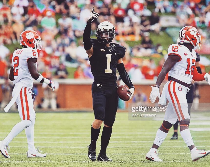 WINSTON-SALEM, NC - OCTOBER 06: Wake Forest Demon Deacons wide receiver Alex Bachman (1) celebrates a first down reception against the Clemson Tigers on October 6, 2018 at BB&T Field in Winston-Salem, NC. The Tigers won 63-3. (Photo by Brian Utesch/Icon Sportswire via Getty Images)