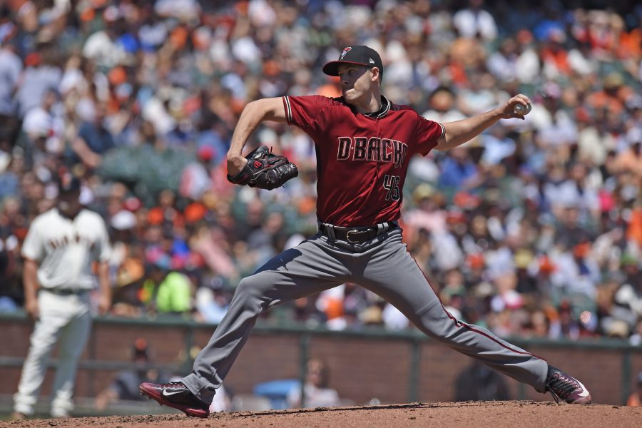 Arizona Diamondbacks pitcher Patrick Corbin (46) pitches against the San Francisco Giants in the second inning on Sunday, Aug. 6, 2017 at ATT Park in San Francisco, Calif. (Jose Carlos Fajardo/Bay Area News Group/TNS)