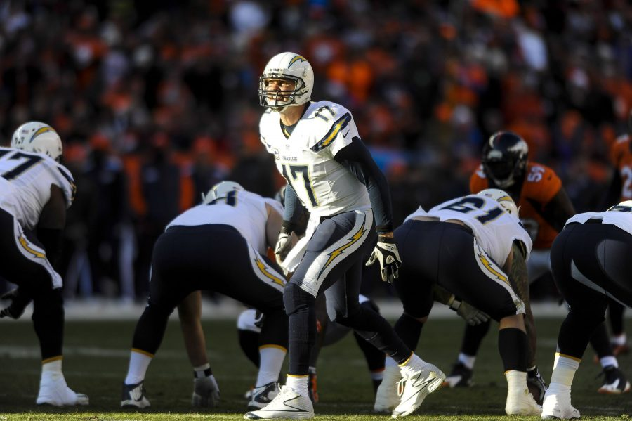 San Diego Chargers quarterback Phillip Rivers yells at his team during the AFC divisional playoffs against the Denver Broncos in Denver on Sunday, Jan. 12, 2014. (Michael Ciaglo/Colorado Springs Gazette/MCT)
