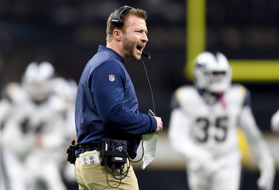 Los Angeles Rams head coach Sean McVay argues with a referee against the New Orleans Saints in the NFC Championship game on Sunday, Jan. 20, 2019 at the Superdome in New Orleans, La. (Wally Skalij/Los Angeles Times/TNS)