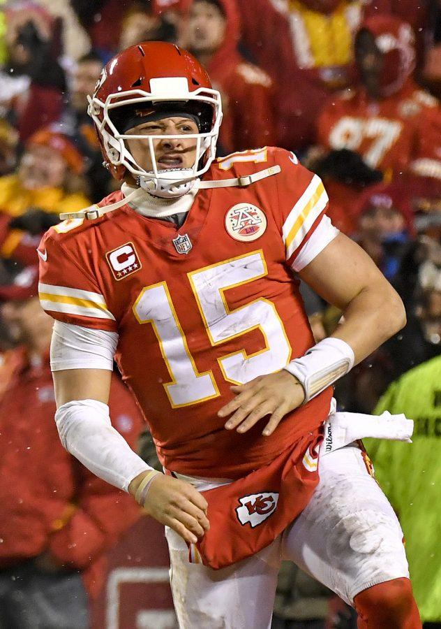Kansas City Chiefs quarterback Patrick Mahomes celebrates after running back Darrel Williams ran in a fourth quarter touchdown against the Indianapolis Colts during an AFC Divisional game on Saturday, Jan. 12, 2019, at Arrowhead Stadium in Kansas City, Mo. (John Sleezer/Kansas City Star/TNS)