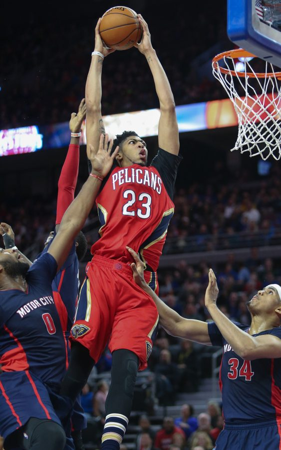 The New Orleans Pelicans' Anthony Davis (23) muscles to the hoop during the fourth quarter against the Detroit Pistons on February 21, 2016, at the Palace of Auburn Hills in Auburn Hills, Mich. (Kirthmon F. Dozier/Detroit Free Press/TNS)