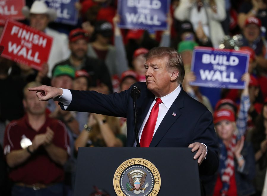 U.S.+President+Donald+Trump+speaks+during+a+rally+at+the++El+Paso+County+Coliseum+on+Feb.+11%2C+2019+in+El+Paso%2C+Texas.+Trump+continues+his+campaign+for+a+wall+to+be+built+along+the+border+as+the+Democrats+in+Congress+are+asking+for+other+border+security+measures.+%28Joe+Raedle%2FGetty+Images%2FTNS%29