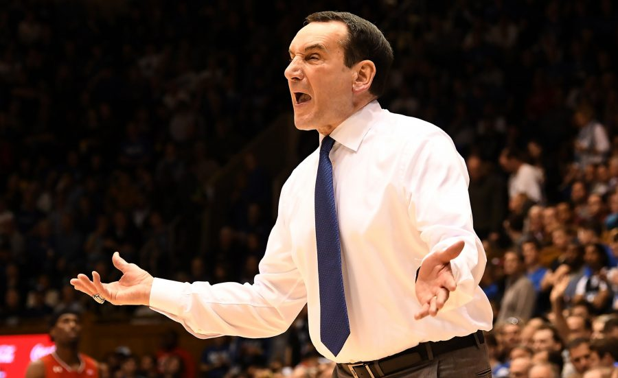 In+a+file+image%2C+Duke+head+coach+Mike+Krzyzewski+questions+a+call+in+the+second+half+of+play+against+St.+John%27s+at+Cameron+Indoor+Stadium+in+Durham%2C+N.C.%2C+on+Saturday%2C+Feb.+2%2C+2019.+Duke+fell+to+Virginia+Tech+77-72+on+Tuesday.+%28Chuck+Liddy%2FRaleigh+News+%26amp%3B+Observer%2FTNS%29