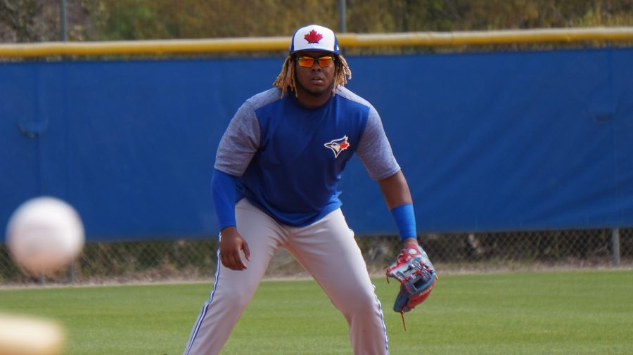 Blue+Jays+third+baseman+Vladimir+Guerrero+Jr.%2C+regarded+as+the+top+prospect+in+baseball%2C+zeros+in+on+a+ground+ball+hit+to+him+during+infield+drills+at+Englebert+Complex+in+Dunedin.