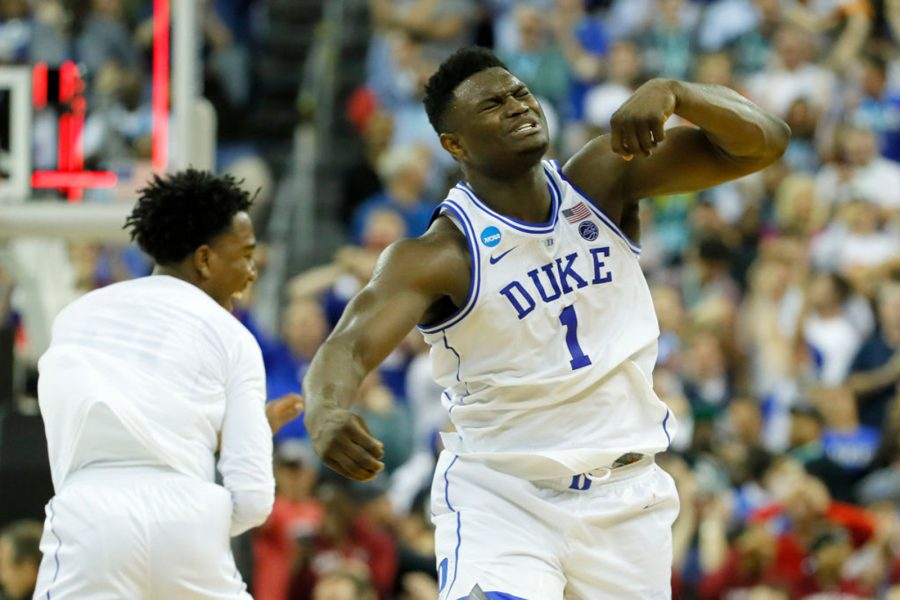 COLUMBIA, SOUTH CAROLINA - MARCH 24: Zion Williamson #1 of the Duke Blue Devils celebrates with his teammates after defeating the UCF Knights in the second round game of the 2019 NCAA Men's Basketball Tournament at Colonial Life Arena on March 24, 2019 in Columbia, South Carolina. (Kevin C.  Cox/Getty Images/TNS) *FOR USE WITH THIS STORY ONLY*