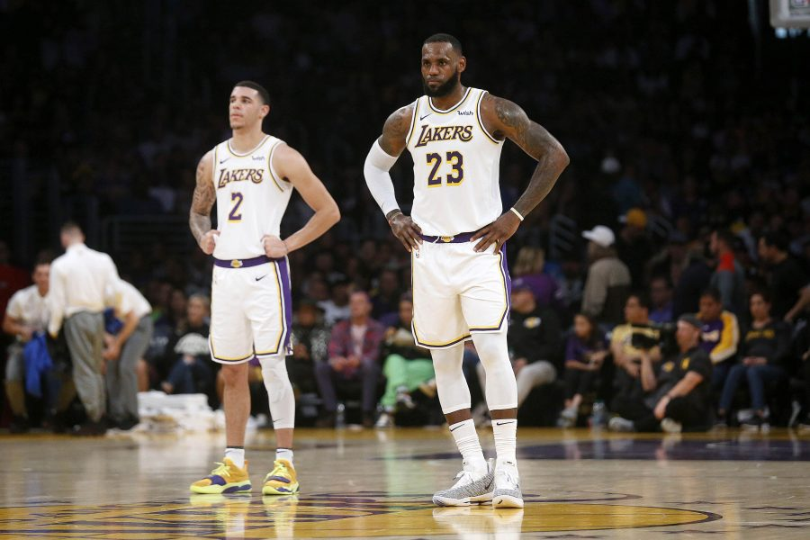 Los+Angeles+Lakers+guard+Lonzo+Ball+%282%29+and+Los+Angeles+Lakers+forward+LeBron+James+%2823%29+during+a+game+against+the+Orlando+Magic+on+Sunday%2C+Nov.+25%2C+2018+at+the+Staples+Center+in+Los+Angeles.+%28Gary+Coronado+%2FLos+Angeles+Times%2FTNS%29