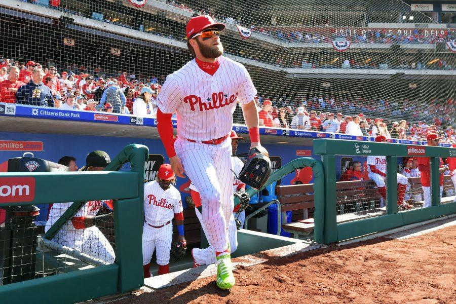 Bryce+Harper+%233+of+the+Philadelphia+Phillies+runs+onto+the+field+before+the+game+against+the+Atlanta+Braves+on+Opening+Day+at+Citizens+Bank+Park+on+March+28%2C+2019+in+Philadelphia%2C+Pennsylvania.+%28Drew+Hallowell%2FGetty+Images%2FTNS%29