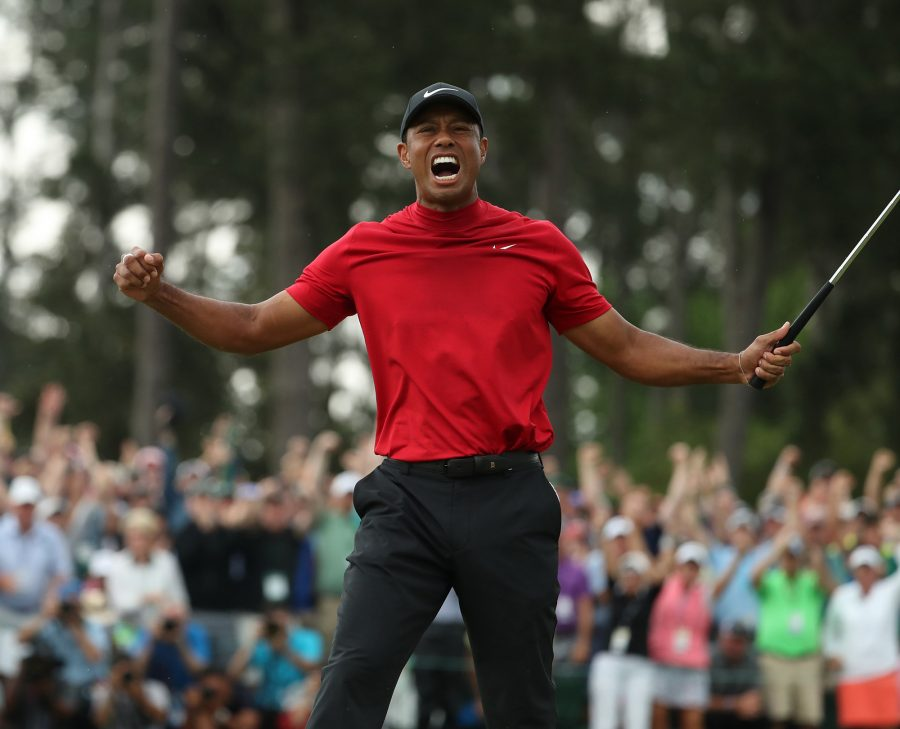 Tiger+Woods+celebrates+after+winning+the+Masters+during+the+final+round+on+Sunday%2C+April+14%2C+2019%2C+at+Augusta+National+Golf+Club+in+Augusta%2C+Ga.+%28Jason+Getz%2FAtlanta+Journal-Constitution%2FTNS%29