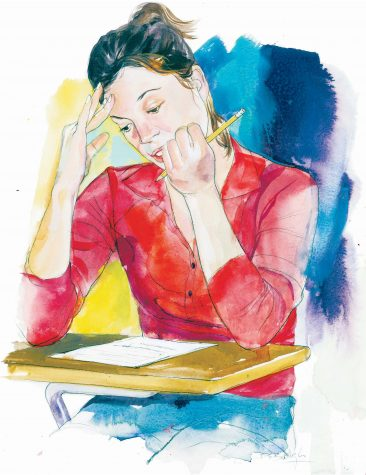 300 dpi 4 col x 10 in / 196x254 mm / 667x864 pixels Dennis Balogh color illustration of a woman taking a test. Akron Beacon Journal 2005   KEYWORDS: test stress anxiety testing sat psat gmat lsat lsat entrance exam drivers school desk student learning pencil krteducation education krtnational national krtworld world krtfeatures features krt educacion prueba examen women mujer escuela estudiente lapiz illustration ilustracion grabado aspecto aspectos ak contributed balogh coddington 2005 krt2005 standardized testing