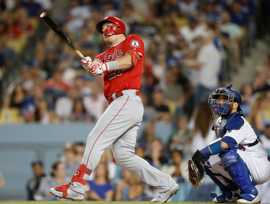 The Los Angeles Angels' Mike Trout hits a solo home run against the Los Angeles Dodgers in the fifth inning on Tuesday, July 23, 2019, at Dodger Stadium in Los Angeles. (Luis Sinco/Los Angeles Times/TNS)