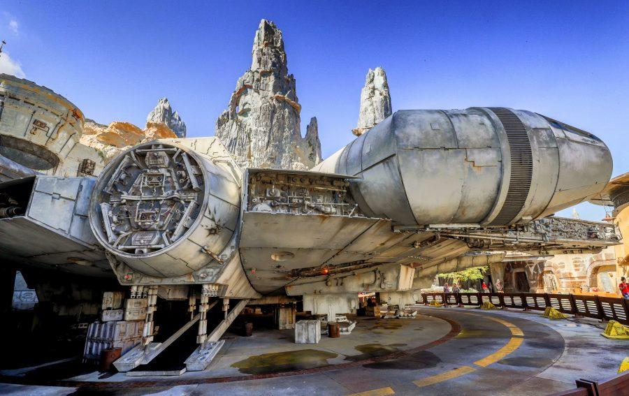 Scenes of the Millennium Falcon at Black Spire Outpost during a sneak peek for invited guests of the Star Wars: Galaxy's Edge attraction at Disney's Hollywood Studios in Lake Buena Vista, Fla., Tuesday, August 27, 2019. The Star Wars themed land at Disney World officially opens on Thursday. (Joe Burbank/Orlando Sentinel/TNS)