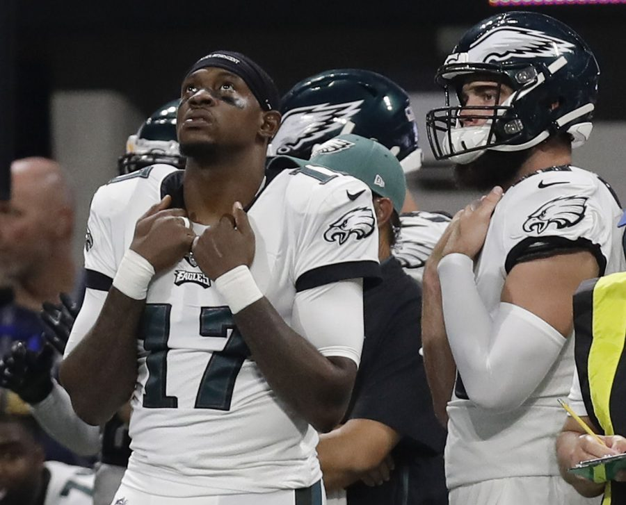 Philadelphia Eagles wide receiver Alshon Jeffery (17), sidelined with a calf injury, follows the action against the Atlanta Falcons on September 15, 2019, in Atlanta. (Yong Kim/The Philadelphia Inquirer/TNS)
