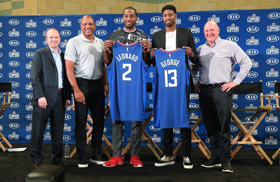 From+left%2C+Los+Angeles+Clippers+President+of+Basketball+Operations+Lawrence+Frank%2C+head+coach+Doc+Rivers%2C+new+players+Paul+George+and+Kawhi+Leonard+and+owner+Steve+Balmer%2C+at+Green+Meadows+Recreation+Center+during+a+news+conference+in+Los+Angeles+on+Wednesday%2C+July+24%2C+2019.+%28Wally+Skalij%2FLos+Angeles+Times%2FTNS%29