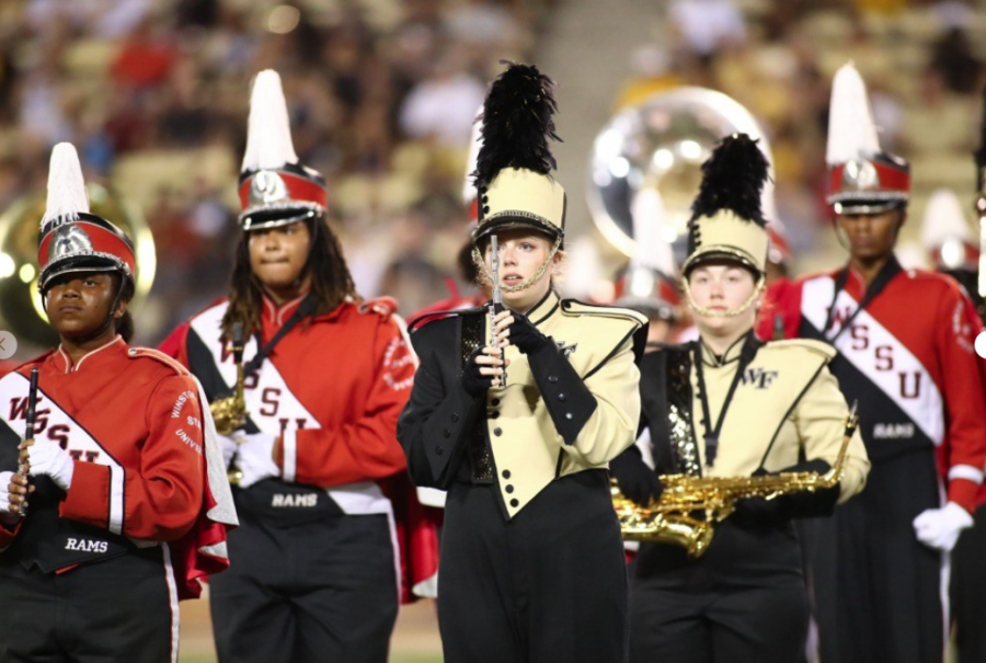 WSSU+Joins+WFU+Band+For+Halftime+Show