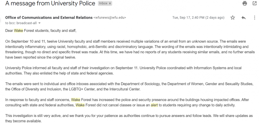 Threatening Emails Alarm Wake Forest