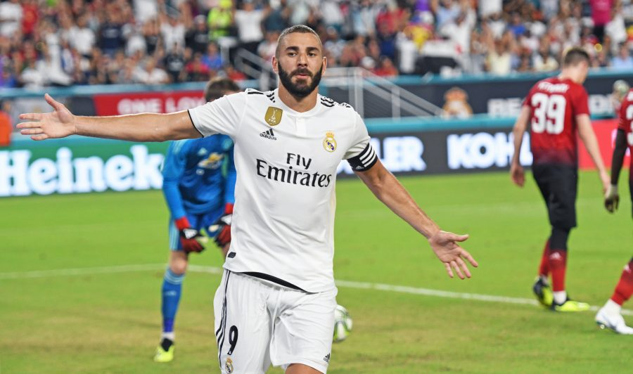 Karim Mostafa Benzema of Real Madrid celebrates a goal past David de Gea of Manchester United in the first half during International Champions Cup action at Hard Rock Stadium in Miami Gardens, Fla., on Tuesday, July 31, 2018. Manchester United won, 2-1. (Jim Rassol/Sun Sentinel/TNS)