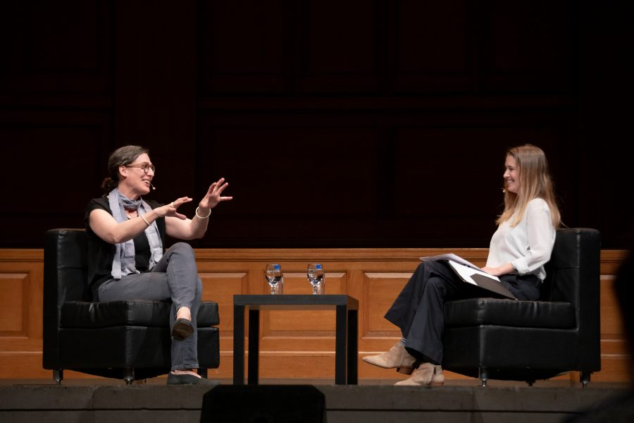 Journalist Sarah Koenig, the producer of the podcast Serial and a former producer of This American Life, speaks at Wake Forest University on Monday, November 4, 2019. WFDD assistant news director Bethany Chafin talks with Koenig.