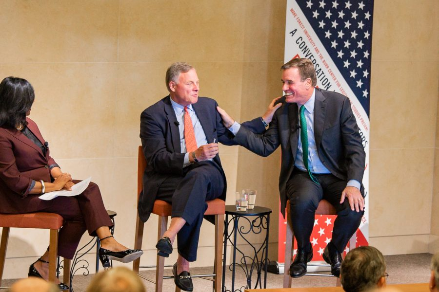 Senators Richard Burr and Mark Warner, Chair and Co-Chair of the Senate intelligence Committee, talk to the community at Wake Forest University on Monday, November 11, 2019.