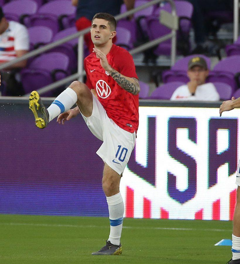 The USA men's national team's Christian Pulisic warms up before the start of a friendly against Ecuador at Orlando City Stadium on Thursday, March 21, 2019, in Orlando, Fla. (Stephen M. Dowell/Orlando Sentinel/TNS)