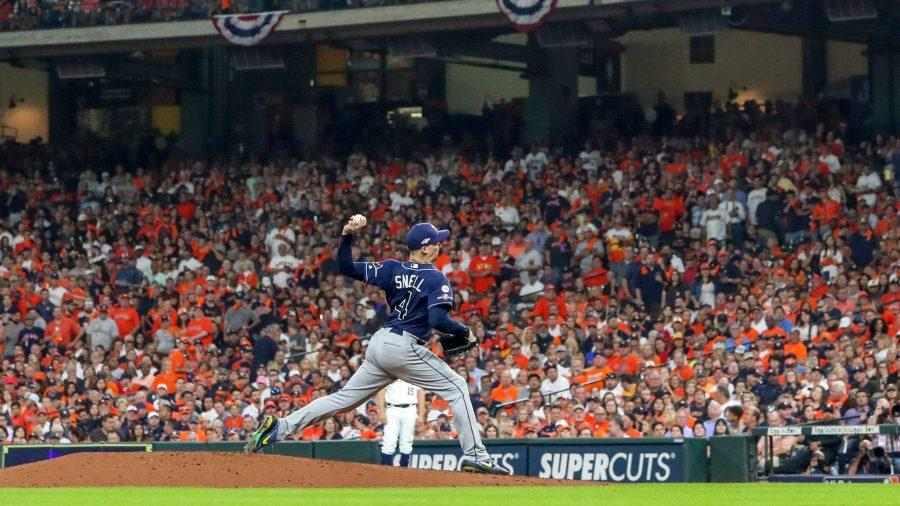 Tampa Bay Rays starting pitcher Blake Snell  delivers a pitch in the fourth inning against the Houston Astros in Game 5 of the American League Division Series on Oct. 10 in Houston. DIRK SHADD  |  Times