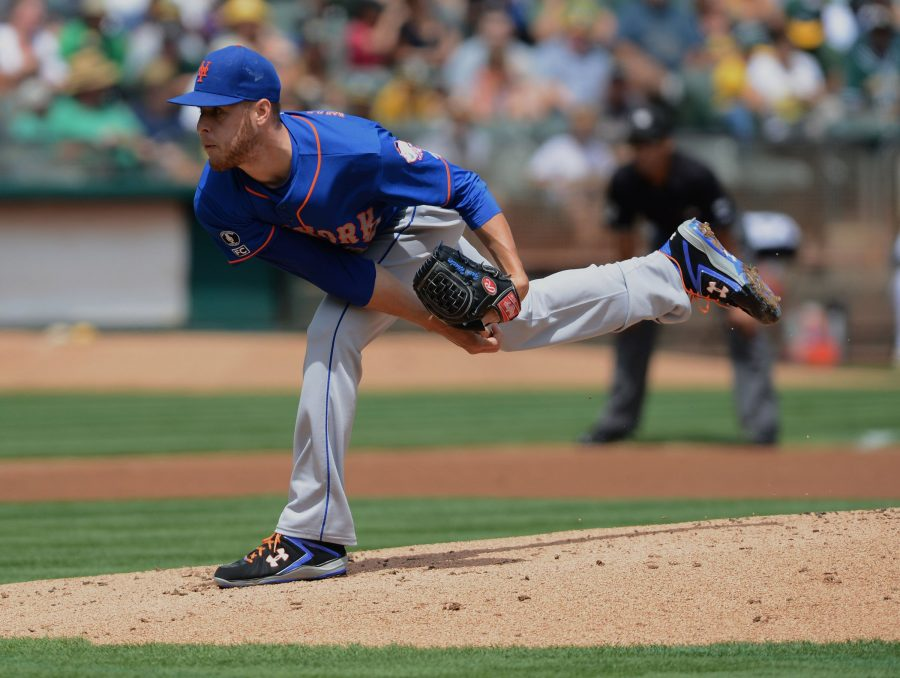 The New York Mets' Zack Wheeler pitches against the Oakland Athletics in the first inning at O.co Coliseum in Oakland, Calif., on Wednesday, Aug. 20, 2014. (Dan Honda/Bay Area News Group/MCT)