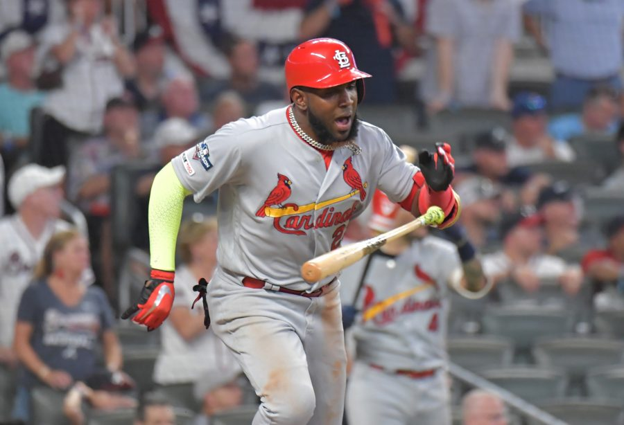 The St. Louis Cardinals' Marcell Ozuna hits a two-run single in the ninth inning against the Atlanta Braves during Game 1 of the National League Division Series at SunTrust Park in Atlanta on Thursday, Oct. 3, 2019. St. Louis won, 7-6. (Hyosub Shin/Atlanta Journal-Constitution/TNS)