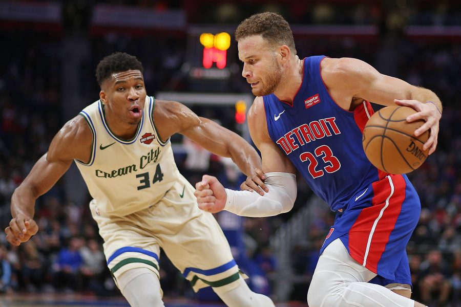 Detroit Pistons forward Blake Griffin (23) drives against Milwaukee Bucks forward Giannis Antetokounmpo (34) in the third quarter of their NBA game at Little Caesars Arena in Detroit, on Wednesday, December 4, 2019. The Bucks won the game, 127-103.