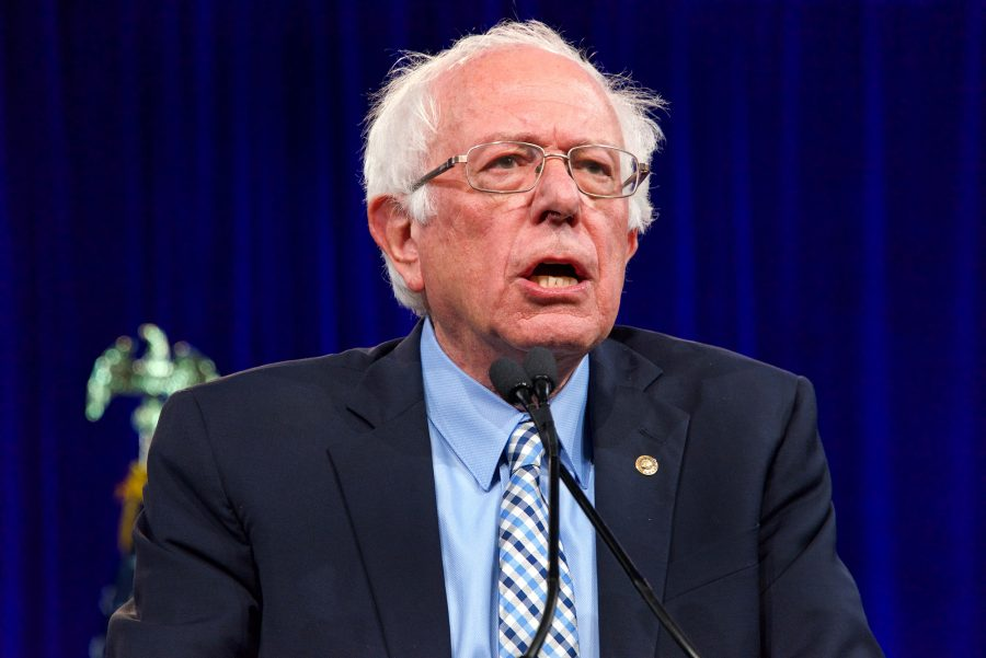 San Francisco, CA - August 23, 2019: Presidential candidate Bernie Sanders speaking at the Democratic National Convention summer session in San Francisco, California.