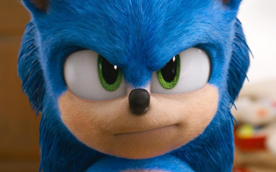 "Sonic, voiced by Ben Schwartz, in a  scene from ""Sonic the Hedgehog ."""