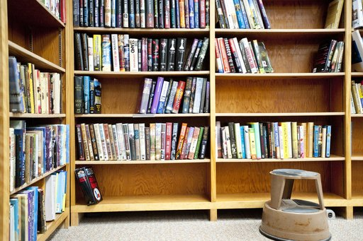 Books line a shelf at the Fruitport District Library in Fruitport, Michigan.