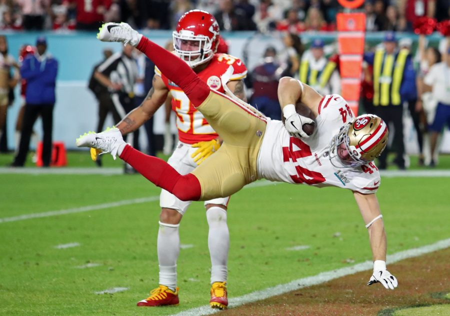 Fullback Kyle Juszczyk of the 49ers dives into the end zone for a touchdown against the Chiefs during the 2020 Super Bowl on Feb. 2, 2020.