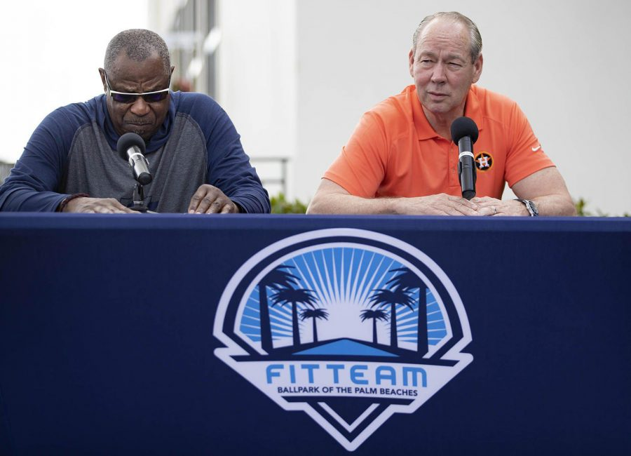 Houston+Astros+manager+Dusty+Baker%2C+left%2C+listens+as+team+owner+Jim+Crane+talks+during+a+news+conference+before+the+start+of+spring+training+at+Fitteam+Ballpark+of+the+Palm+Beaches+in+West+Palm+Beach%2C+Fla.%2C+on+Thursday%2C+Feb.+13%2C+2020.+%28Allen+Eyestone%2FPalm+Beach+Post%2FTNS%29